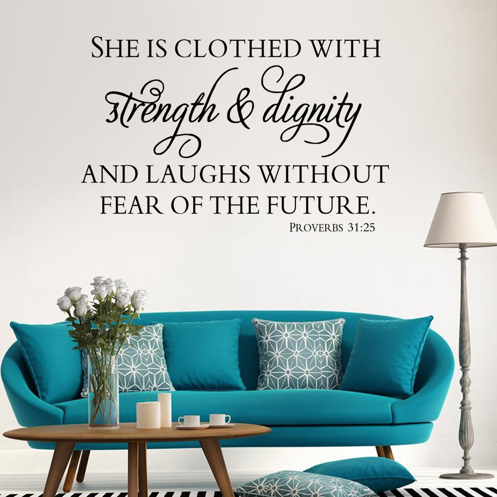 Dignity Wall: Scripture Bible Verse Wall Decal Art She Is Clothed With