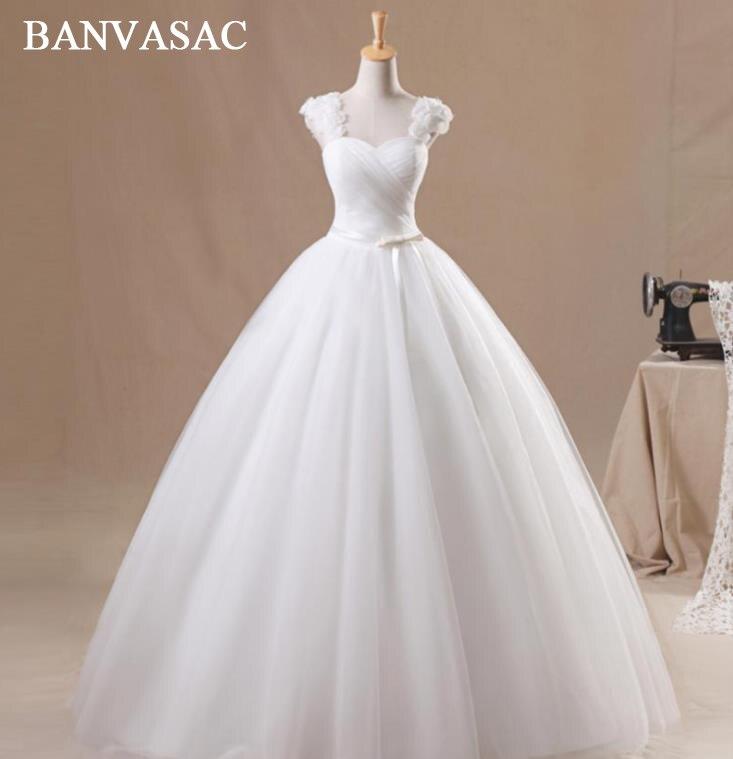 BANVASAC 2017 Nya Eleganta Blommor Stroplösa Bröllopsklänningar Ärmlös Satin Sash Blå Brudklänning