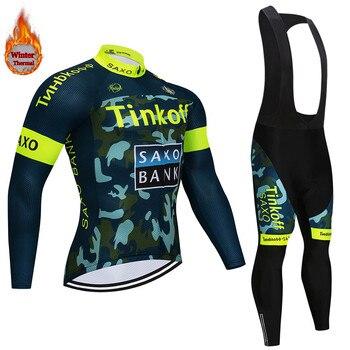 Esporte de Inverno do Velo Térmico Saxo Bank Tinkoff Ciclismo Jersey Ropa ciclismo Mtb Roupas bicicleta Roupas de Ciclismo