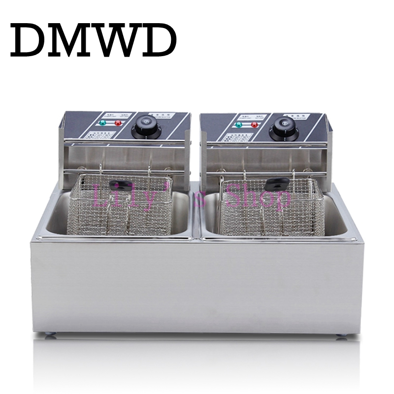 Commercial double screen cylinder electric deep fryer french fries machine oven pot frying machine fried chicken row EU US plug