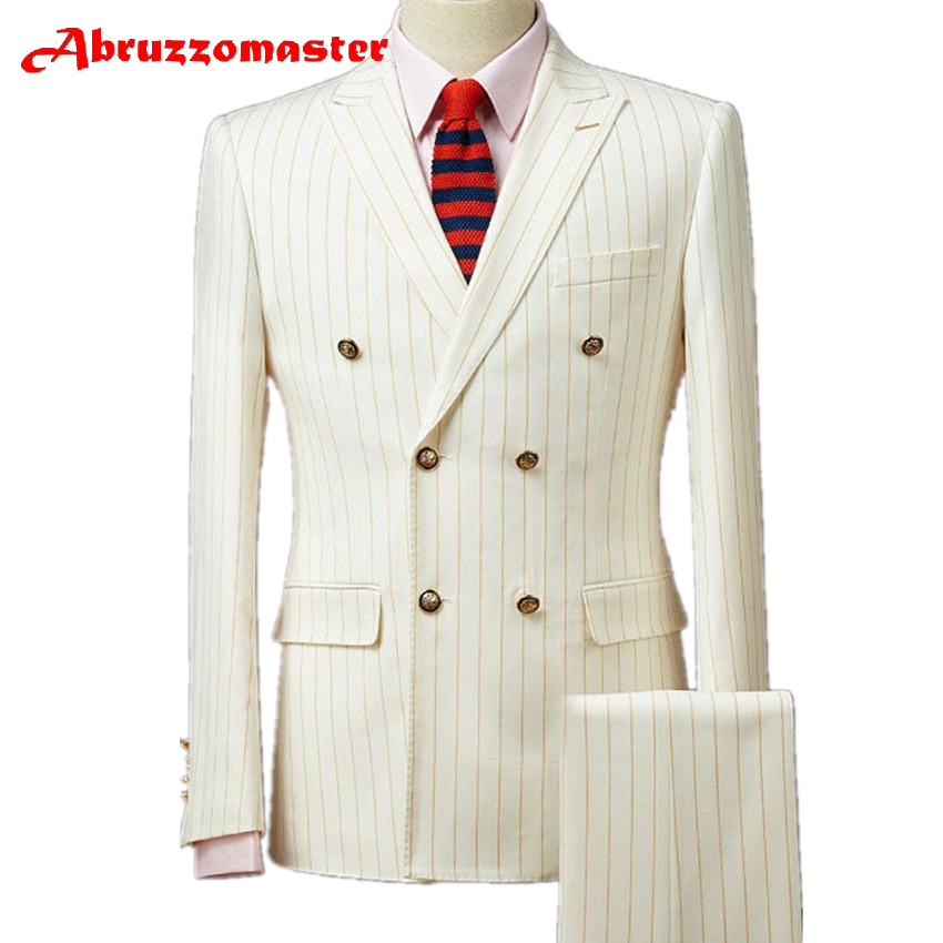 Abruzzomaster Mens Gold Striped Tweed Suits 2 Piece Double Breasted Wedding Groom Custom Made Man Suit Tailor Suit Blazer
