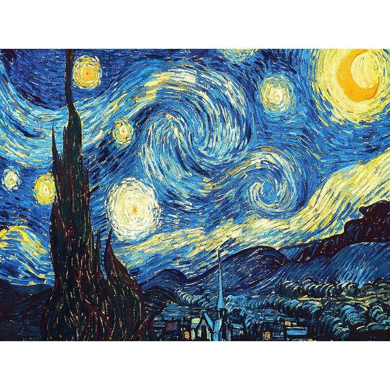 Décoration de la maison DIY 5D Diamant Broderie Van Gogh Nuit Étoilée Point De Croix kits À L'huile Abstraite Peinture Résine Hobby Craft zx