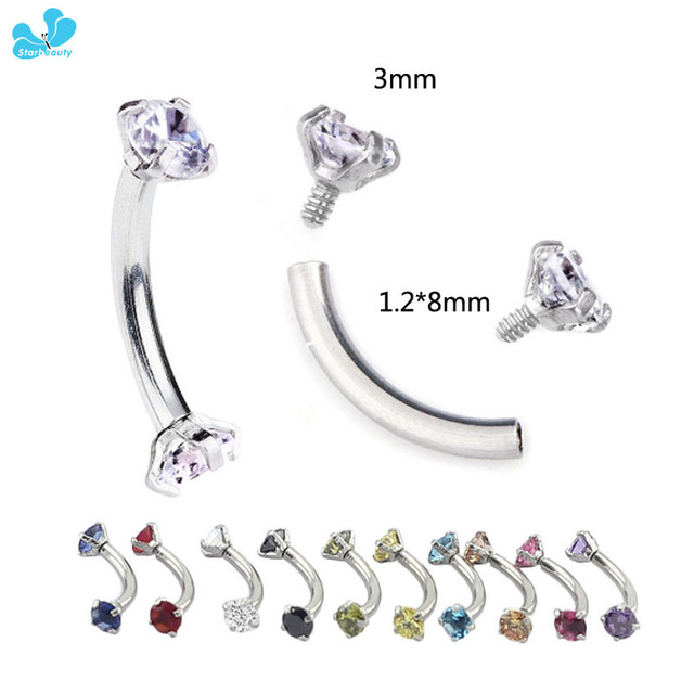 2Pcs 1.2*8mm Cubic Zircon Stainless Steel Eyebrow Ring Body Jewelry Curved Barbell Piercing Tragus Earring Internally Thread