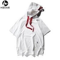 HZIJUE 2018 summer thin hoodies men's sunny T shirt with Cap pocket black/white/gray men homme top tees Oversized t shirt