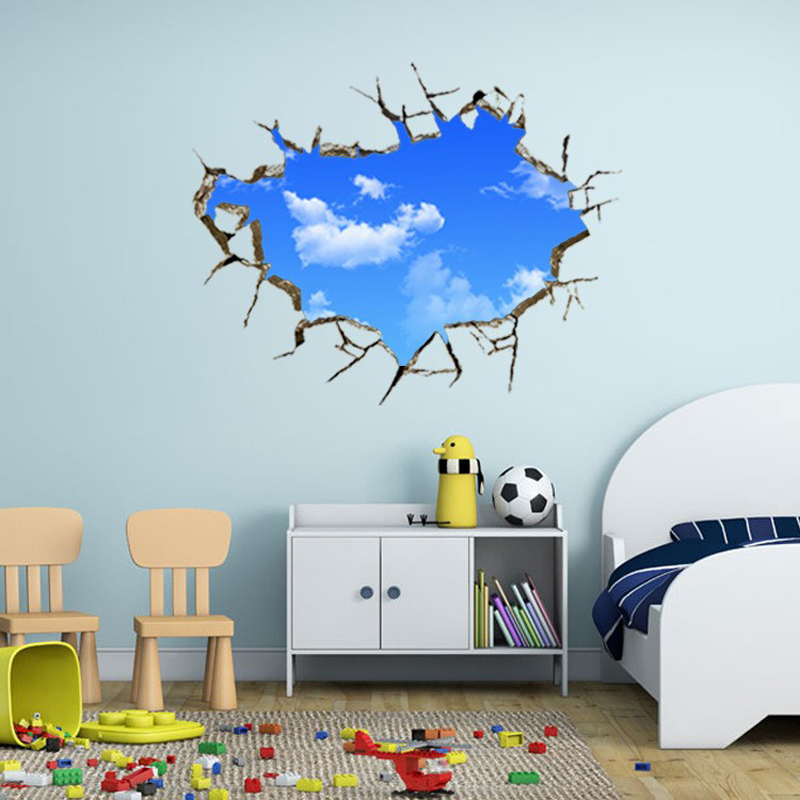 Commercial Walls Landscape Design: Creative Landscape Blue Sky White Cloud Home Decoration Decal 3D Wall Sticker For Kids Bedroom