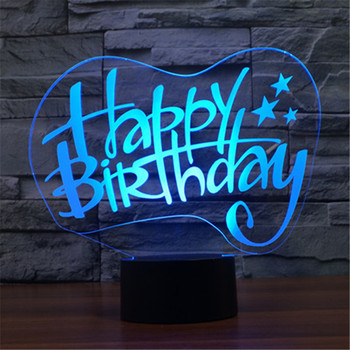 DHL free shipping Creative 7 Colors 3D Acrylic Visual Light LED Lamp Birthday Party Table Decoration Lamps Night Light Gifts