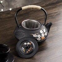 Bule de chá japonês do ferro fundido chaleira flor de ameixa 300 ml/600 ml/800 ml