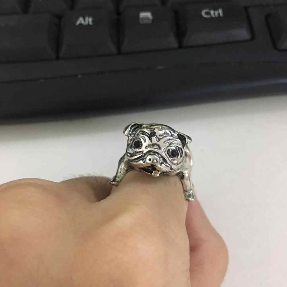 New Vintage Cute Dog Ring Pug Dog Adjustable 2 Colors Personality Ring Jewelry for Women and Men