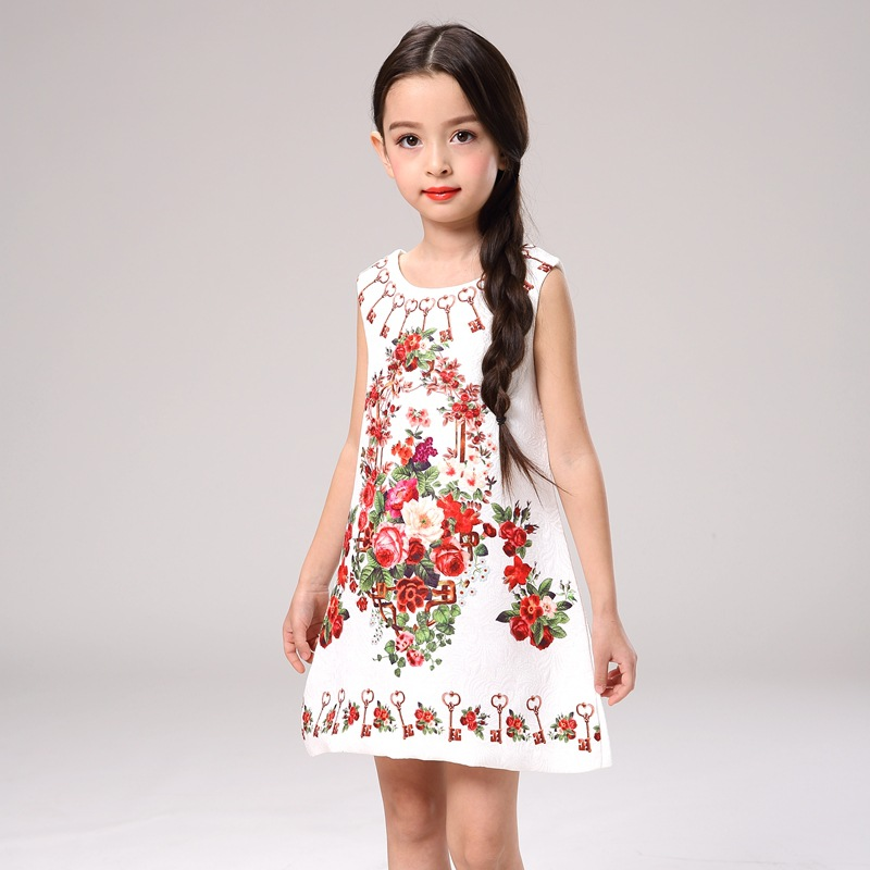 2c794533c223 Children Princess print flower Party Dresses toddler pretty Girls ...