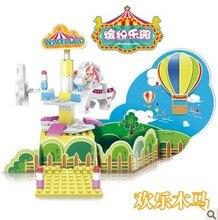 WL5001 Carousel with Clockwork Music Box Turn Around Building block sets Toys for Girls Educational DIY Bricks Toys
