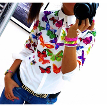 2017 Spring And Autumn New Fashion Casual Womens Tops Shirt White All Match Sunflower Butterfly