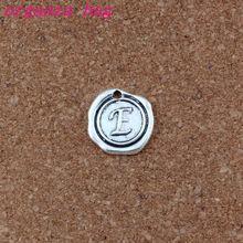 100pcs/lots Antique Silver Single side Letter  E Initial alloy Charms Pendants Fashion DIY Accessories 18x18.5MM A-463