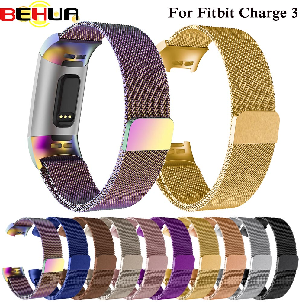 New Milanese Loop For Fitbit Charge 3 Charge3 Watch Band Stainless Steel Bracelet Replacement Watch Accessories Strap Wristbands