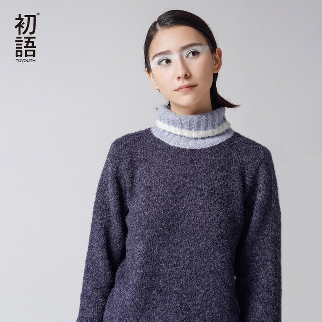 Toyouth Winter New Sweater Women Turtle Neck Warm Pullovers Female Knitted Casual Sweaters