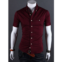 Summer mens brand clothing short-sleeved camiseta hombre new 2016 fashion social fit Camisa Slim solid color 8 colors optional