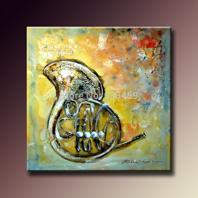 Handmade modern oil painting pictures French Horn musical instrument ...