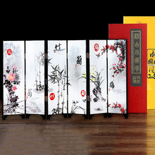 Desktop Decoration Fold Screen Table Lacquer Mini Folding Room Dividers Wooden Arts  Chinese Style Ornaments