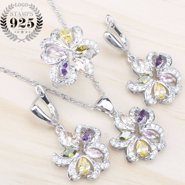 Wedding Silver 925 Costume Jewelry Sets Women decorations Earrings Rings Pendant Necklace With Colorful Zircon Stones  sc 1 st  AliExpress.com & Wedding Silver 925 Costume Jewelry Sets Women decorations Earrings ...