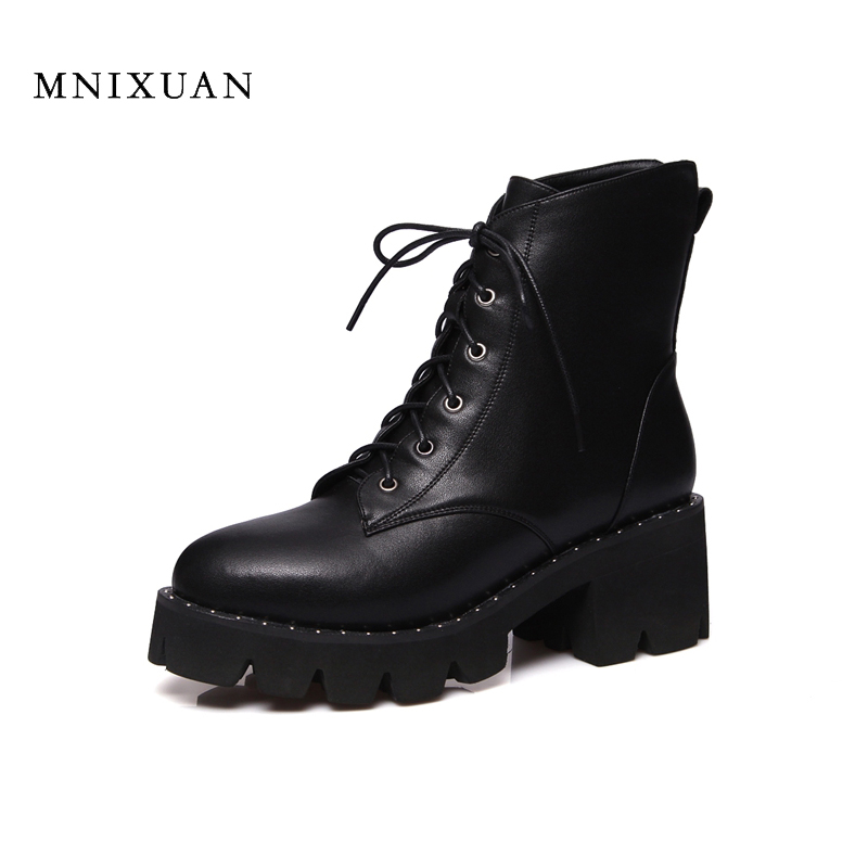 Rubber boots women 2017 winter ladies shoes front lace up casual ankle boots antumn military boots army martin short boots black цена 2017