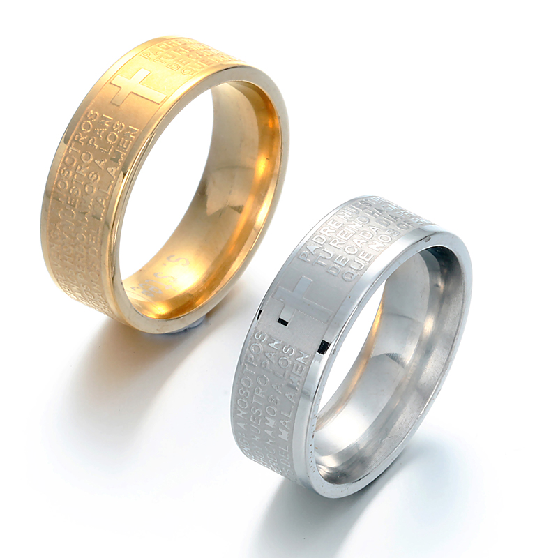 Gold Color Scripture Corrosion Finger Rings For Man Women Top Quality Stainless Steel Jewelry Whole In From Accessories