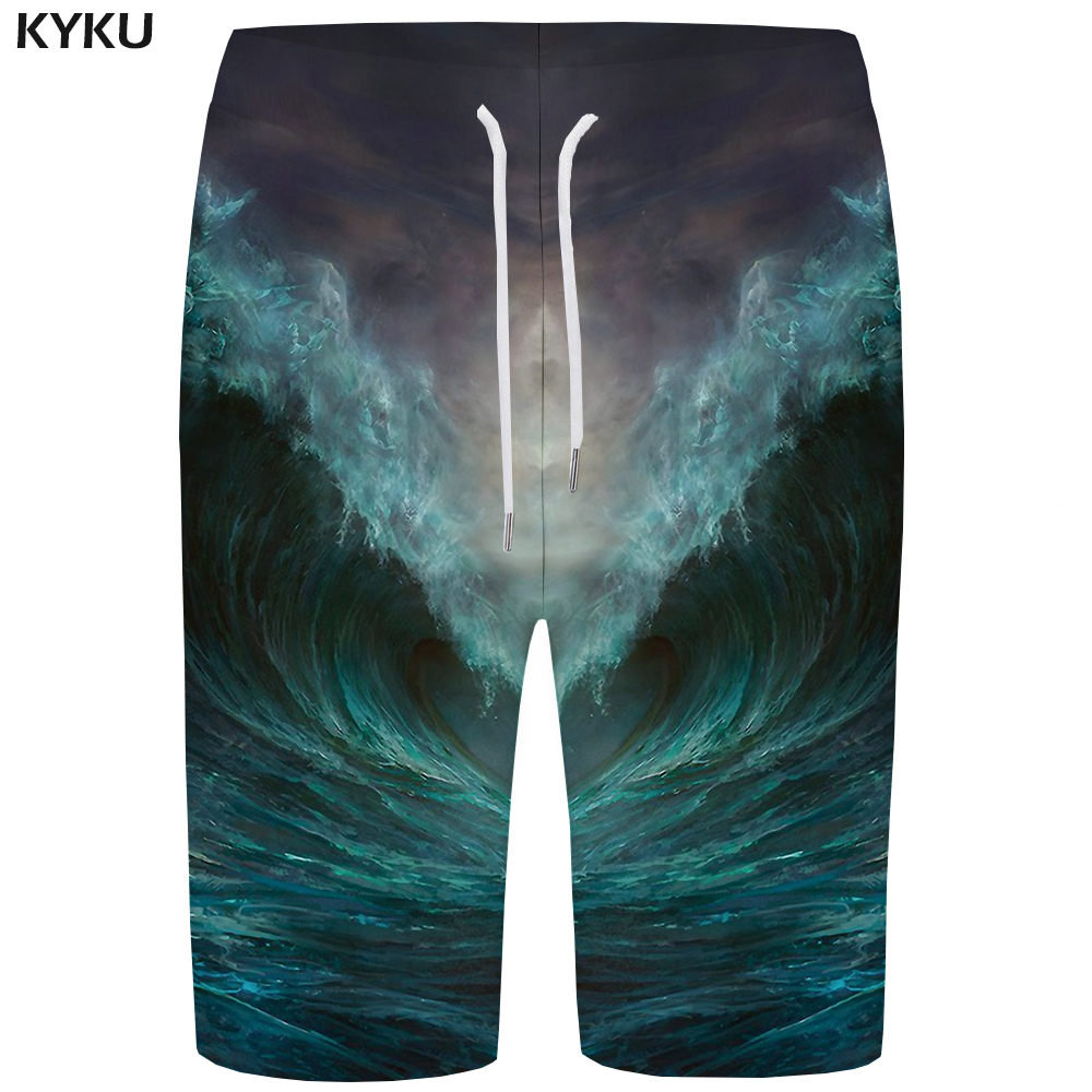 KYKU Wave   Board     Shorts   Men Green Sky   Short   Pants Colorful 3d Print   Shorts   Psychedelic Phantom Mens   Shorts   Summer Boardshorts New