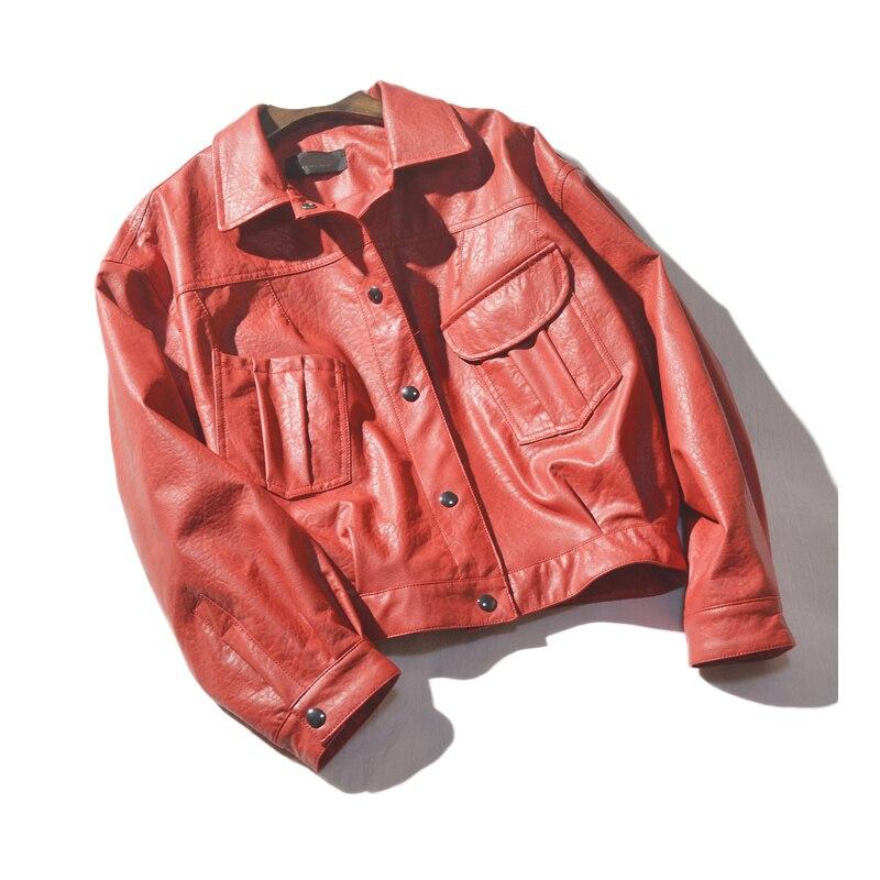 England style Retro single breasted pu   leather   Locomotive jacket female street style big pockets   leather   jackets wq2447 dropship