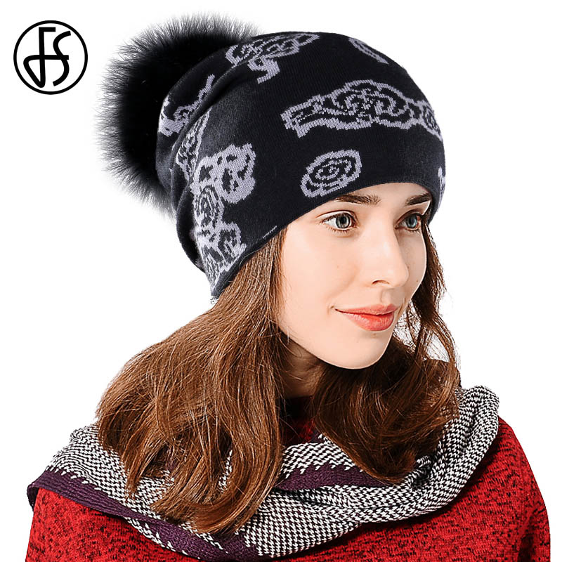 d3508cc6d83ce FS Cashmere Beanies With Raccoon Fur Ball Ladies Knitted Hat Thick Winter  Warm Women Hats Female