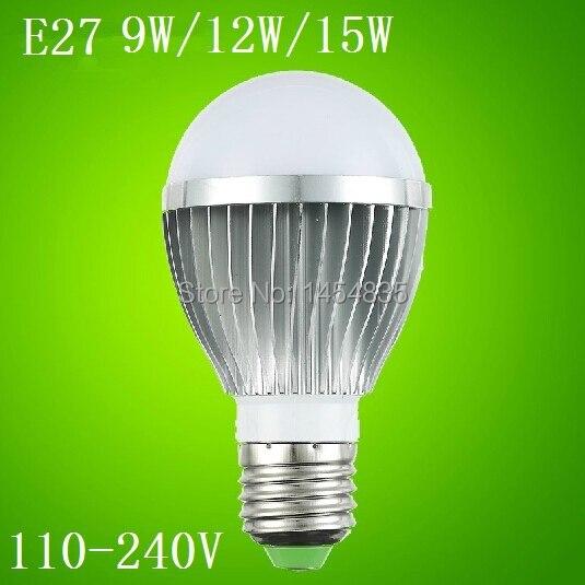Hot Sale New Cree E27 /E14/B22 9W/12W/15 W LED Saving Light Lighting Bubble Ball Bulb Lamp High Power 110-240V