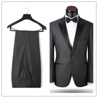 Nuovo Arrivo Tuxedo abiti da Sposa di Design di Marca di Modo Degli Uomini Grigio Scuro Vestiti di Vestito Formale (Jacket + Pants) A123