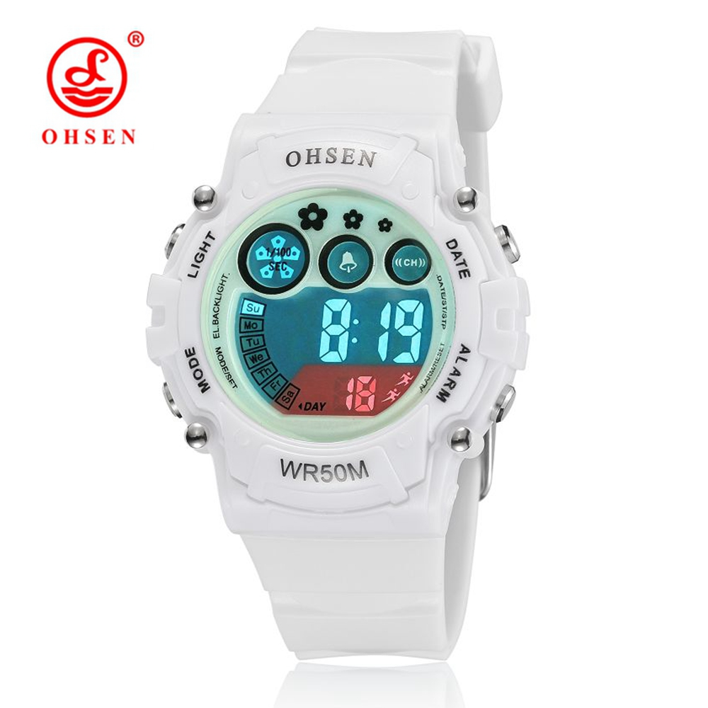 2016 OHSEN Digital LCD Kids Girls Fashion Wristwatch White Silicone Strap 50M Waterproof Child Boys Watches Alarm Hand Clocks