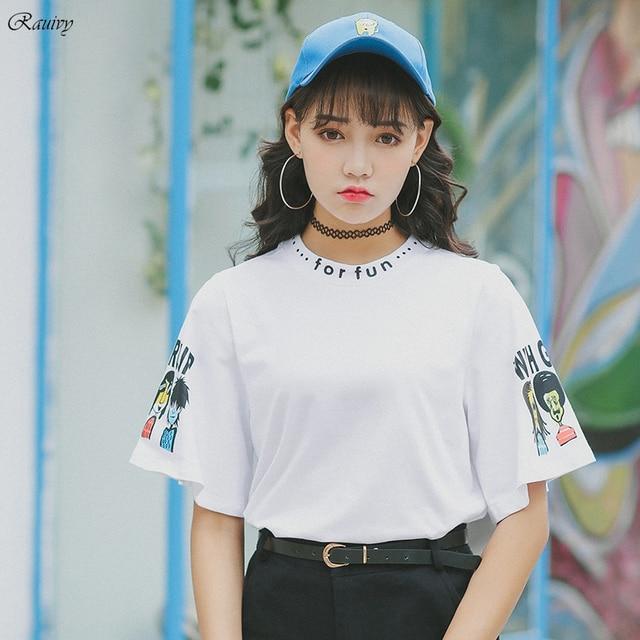 Mulheres camiseta ulzzang 2017 harajuku camisas engraçadas de t coreano mulheres superiores as crianças brincam letras de graffiti moda t-shirt do verão da rocha