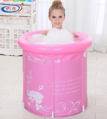 65x70 thickening folding Portable tub Adult Spa PVC bathtub inflatable bathtub bucket blue and pink