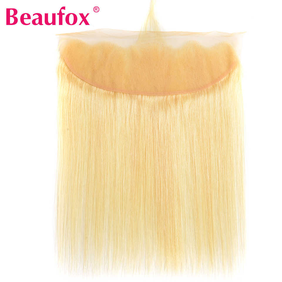 Beaufox Brazilian Straight Hair Lace Frontal Closure With Baby Hair 613 Blonde Human Hair Lace Frontals 13*4 Free Part Remy