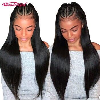 Wonder girl 360 Dentelle Frontale Perruque Pré Pincées Avec Bébé Cheveux Remy Brésiliens Droite Avant de Lacet Perruques de Cheveux Humains Pour femmes Noir
