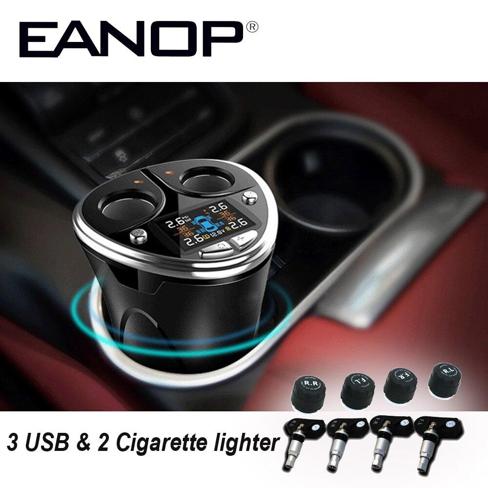EANOP TPMS 12/24 v Tpms Sistemi di Monitoraggio Della Pressione Dei Pneumatici Sistema di Allarme Auto con 3 Porta USB Carica Veloce e 2 accendisigari