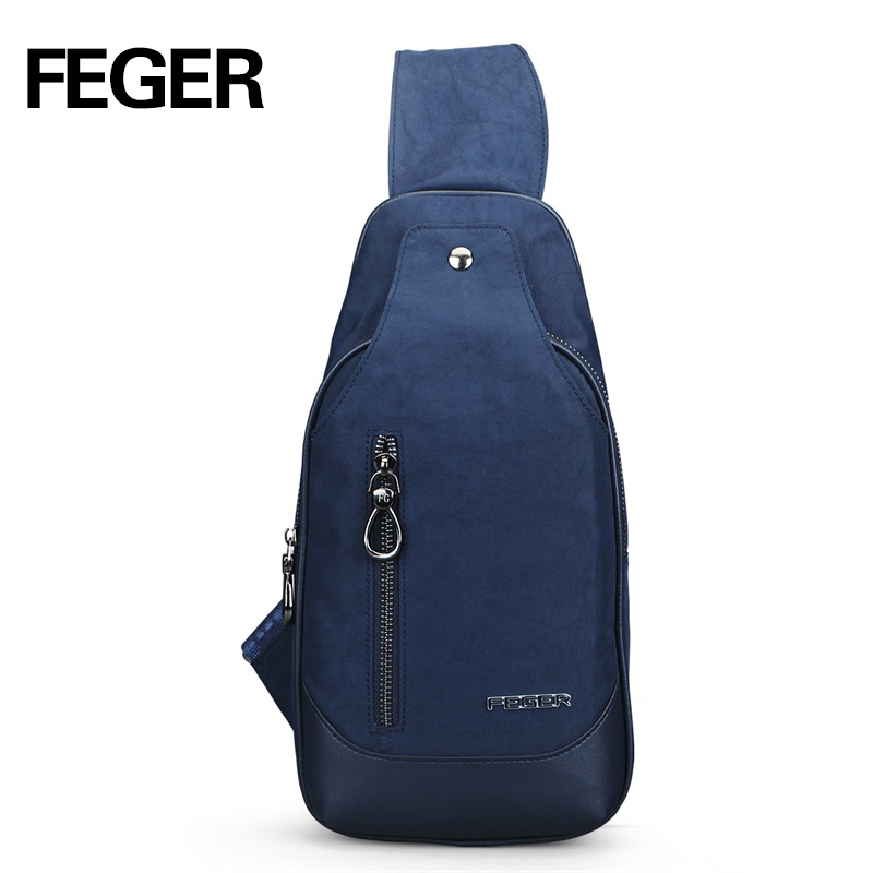 0d336abe3d FEGER Casual Durable Soft Nylon Mens Messenger Bags Small Travel Sling Bag  Trendy Solid Unisex Couple Chest Pack Free Shipping-in Crossbody Bags from  ...