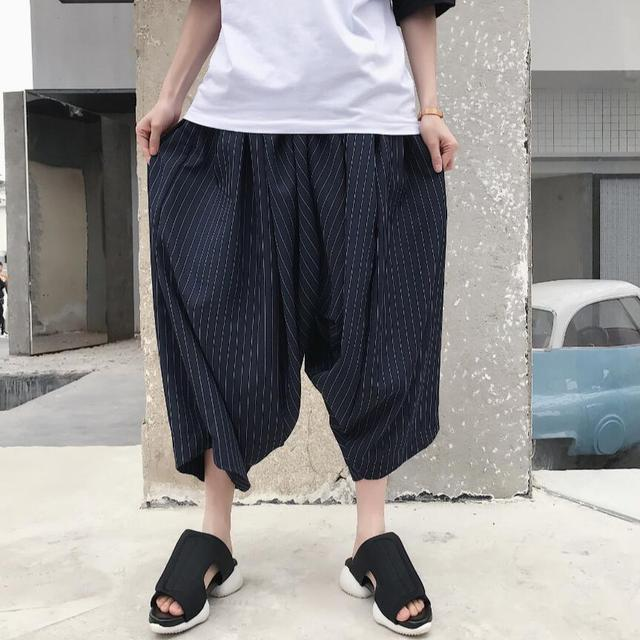 bc0c656c79a New Summer style striped harem pants men s special loose personality thin  section wide leg pants hairstylist tide Radish pants