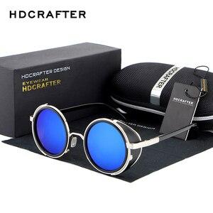 Image 1 - HDCRAFTER lunettes de soleil pour hommes et femmes, verres miroirs, style Steampunk, unisexe, Vintage, rétro