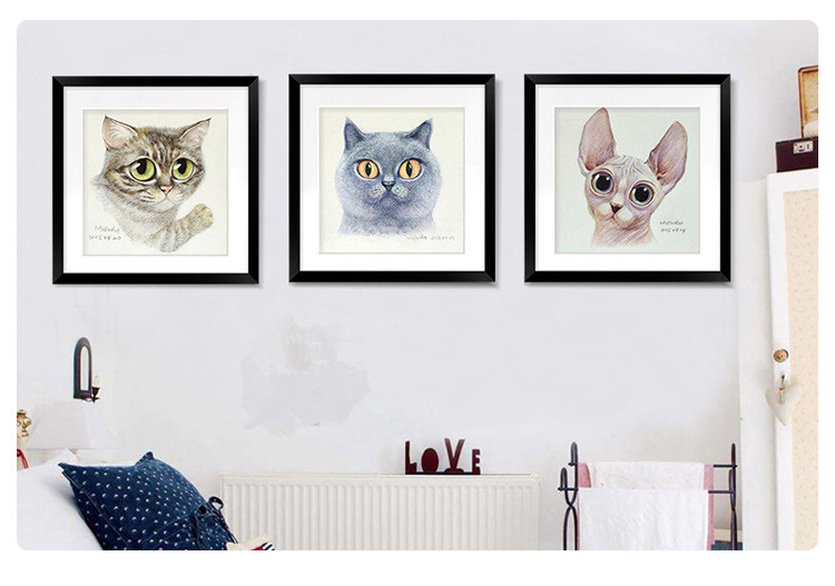 Original Watercolor Lovely Cat Poster Print Abstract Picture Home Art Decor Canvas Painting No