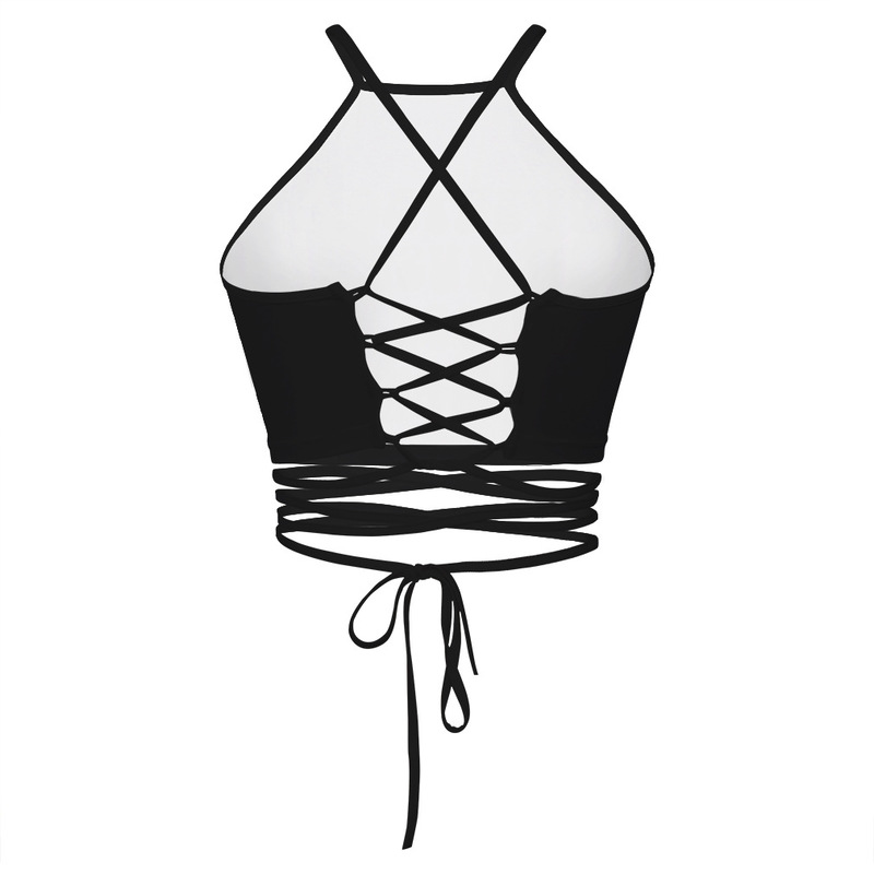 3d Black Hole Strap Bralette Crop Top Sleeveless Off Shoulder Bandage Female Tops Sexy Club Lace Up Short Backless Women Clothes