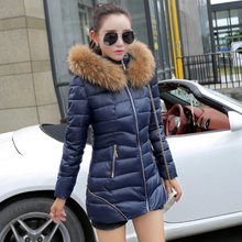 2016 New Hot sale female winter outerwear medium-long thickening slim down cotton-padded Jacket plus size fur collar warm Coats