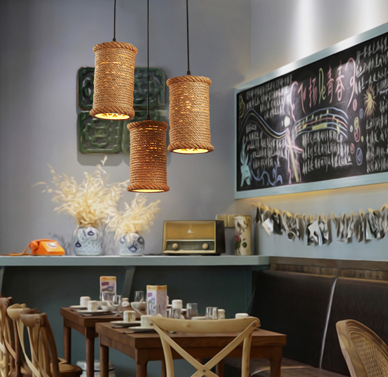 American country  loft  hemp iron rope pendant light personality retro Restaurant Bar Cafe lamp creative personality hemp cafe bar chandelier corridor water anchor rope pendant lamp vintage american country