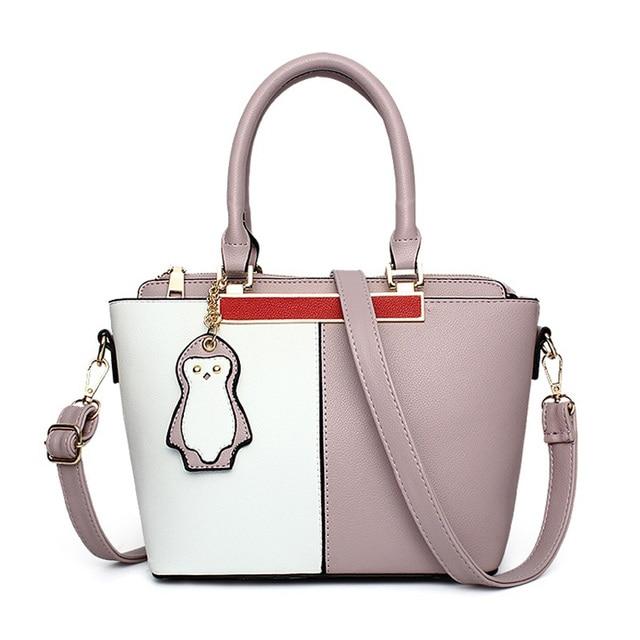 120464dbf6 Women Leather Panelled Patchwork Handbags Tote Bag Designer Penguin Pendant  Shoulder Bags Brand Large Messenger Ladies Hand Bag