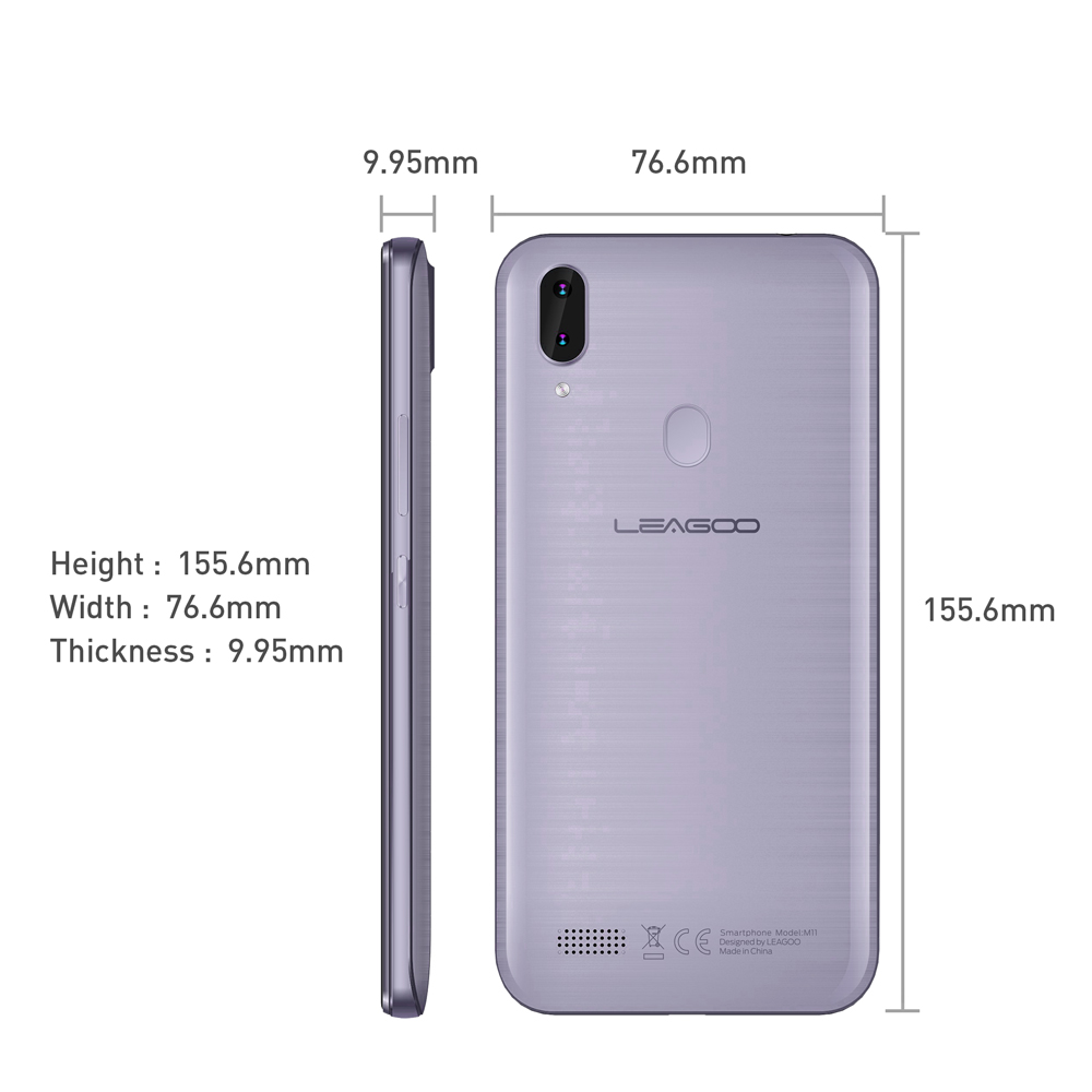 "Image 5 - Original LEAGOO M11 4G Fingerprint Mobile Phone 6.18"" Dual SIM Android 8.1 Quad Core 2GB RAM 16GB ROM 4000mAh Face ID Smartphone-in Cellphones from Cellphones & Telecommunications"