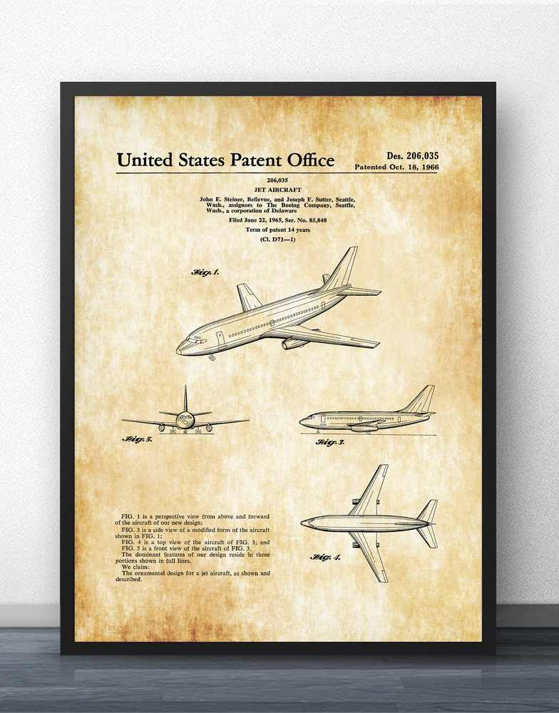 5672045593db Boeing 737 Patent Blueprint Wall Art Paint Wall Decor Canvas Prints Canvas  Art Poster Oil Paintings No Frame