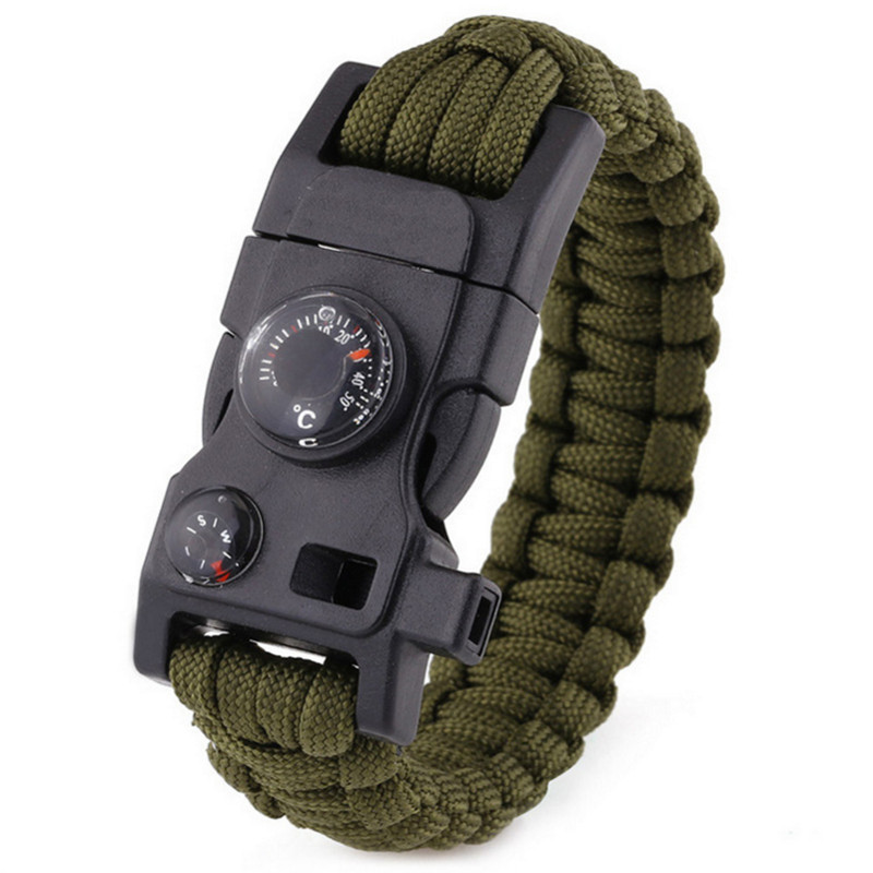 Multi-functional Survival Paracord Bracelet Black Camping Outdoor Survival Gear Whistle Lifesaving Braided Rope Tactical Wrist цена