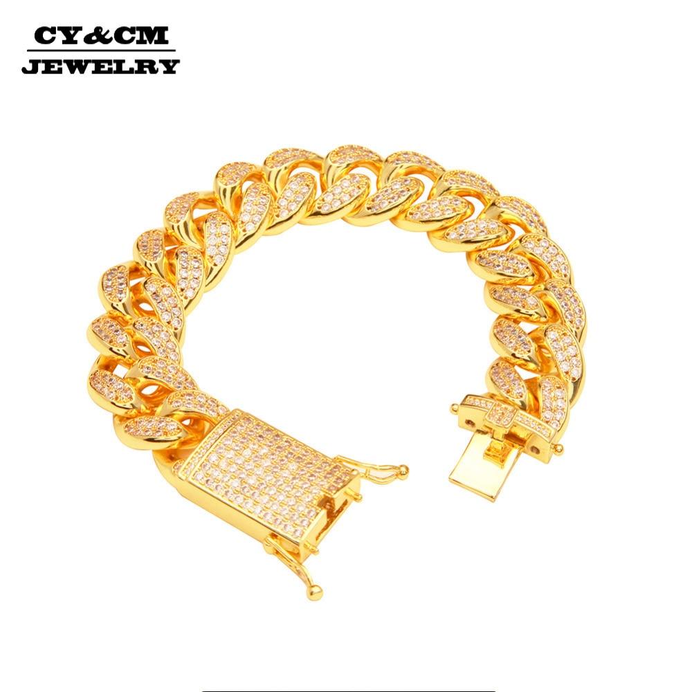CY CM Thick 20mm Miami Cuban Link Bracelet Men Fashion Hiphop Full Micro Pave Cubic Zirconia