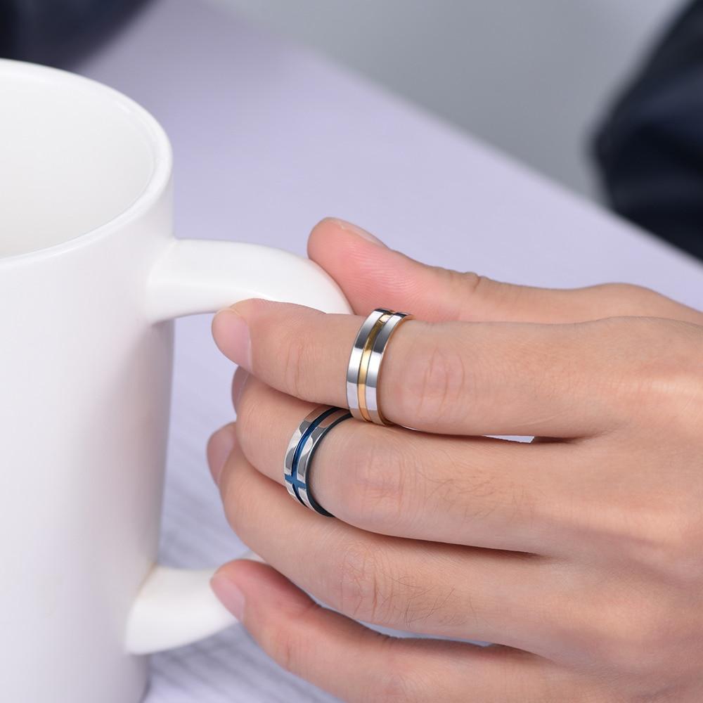 PROSTEEL Cross Ring Men Classic Engagement Wedding Gold Blue Color ...