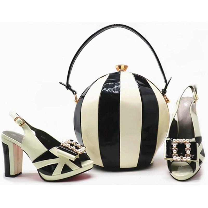 Africanos Conjunto Juego Charol Bolsas Tacones 1 3 Partido Bombas Altos Con Moda 2 Zapatos A 6 Italianos Mujeres Última 5 4 Y qOZY08
