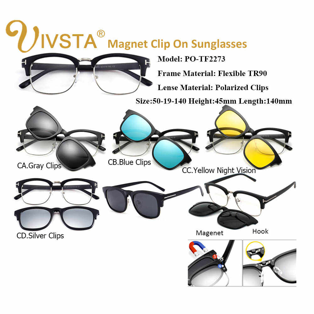 eda0e41abc ... IVSTA TF 2273 Magnetic Sunglasses Men Polarized Lenses Clip On Glasses  Clips Magnet Prescription Myopia Spectacle ...